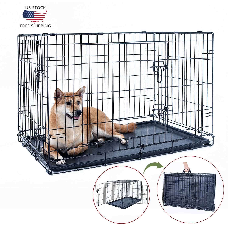 "48"" Dog Crate Kennel Folding Metal Black Pet Cage 2 Door Wit"