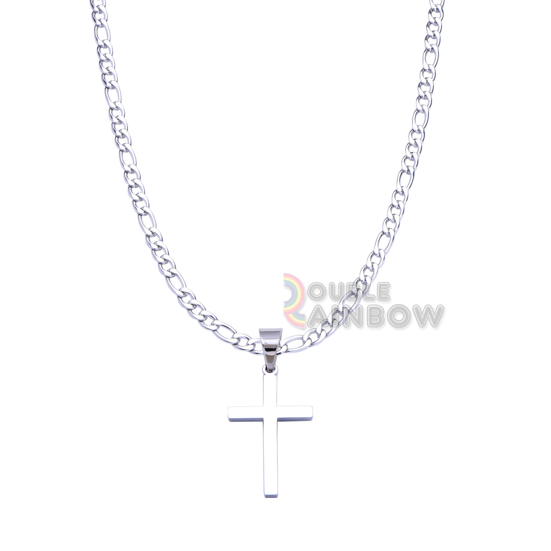 "18-36/""MEN Stainless Steel 3mm Gold//Silver Box Link Chain JESUS Cross Pendant*114"