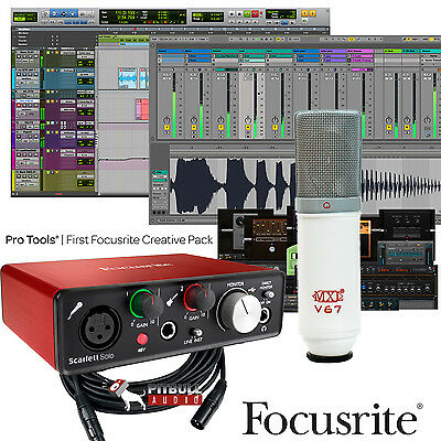 Focusrite Scarlett Solo 2Nd Gen Pro Tools First Home Recording Studio Bundle