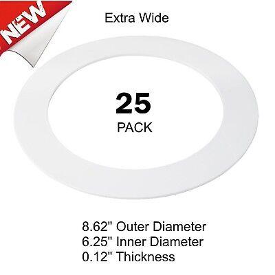 New 25 Pack White Plastic Trim Ring for 8