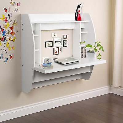 Wall Mount Floating Computer Desk Storage Two Shelves Laptop Computer Home White