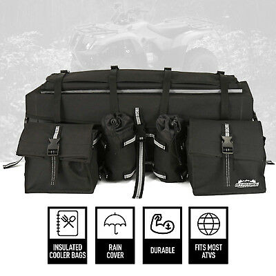 (New ATV/Quad Rear Rack Bag with Rain Cover and Insulated Cooler Bags, Black)