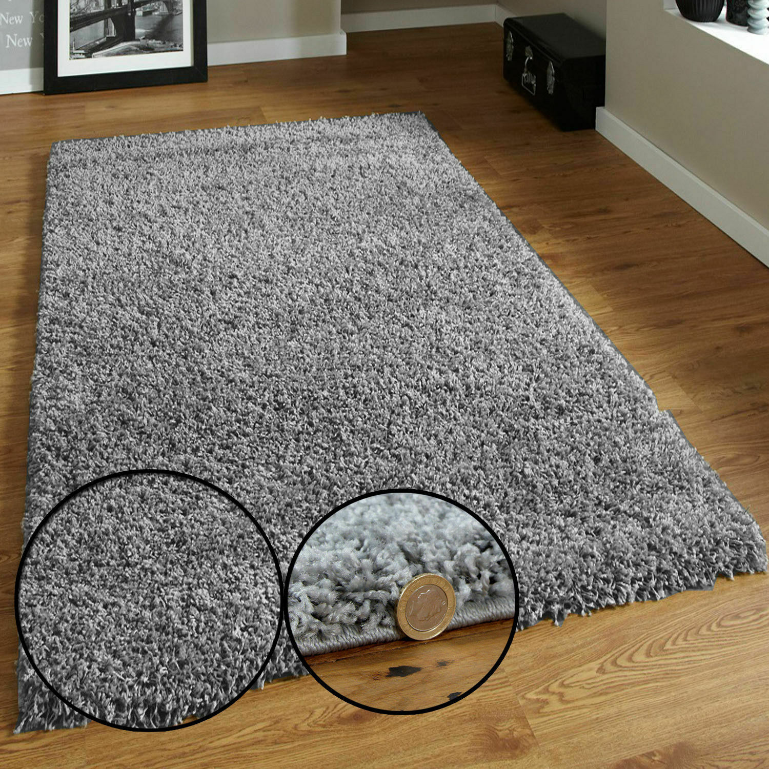 Grey Small Large Shaggy Rugs Super Soft