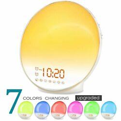 Wake Up Light Alarm Clock Lamp Radio Sunrise Fading Sunset 7 Colors Sleep Kids