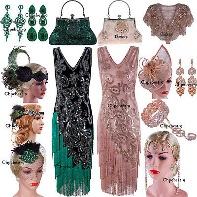 White Flapper Dress Costume (Vintage Costume 1920s Flapper Gatsby Wedding Party Layered Tassel Cocktail)