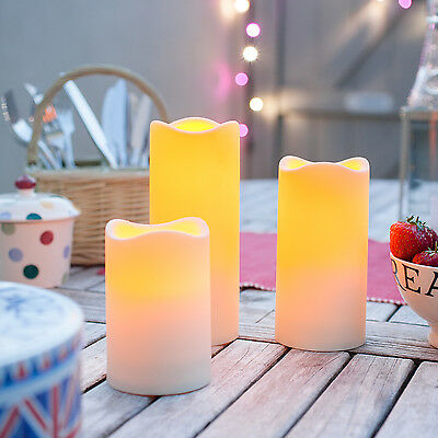 Set Of 3 Battery Operated Outdoor LED Candles With 6 Hour Timer 18cm 15cm 11.5cm