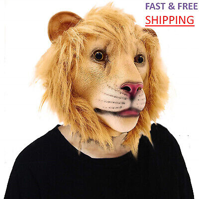 Halloween Lion Mask (Halloween Head Mask Lion Latex Costume Animal Party Cosplay Masquerade Prop)