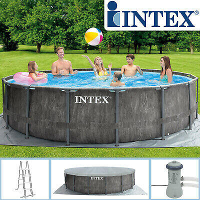 INTEX 457x122 Frame Swimming Pool Frame Greywood Set Schwimmbecken Schwimmbad