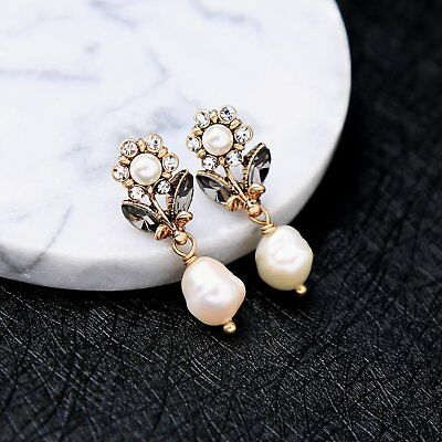 J Crew Deep Gold Petite Flowers White Freshwater Pearl Stud Earrings - White Pearl Flower Earrings