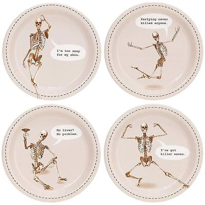 PACK 8 HALLOWEEN FUNNY SKELETON DESSERT APPETIZER PLATES PARTY TABLE DECORATION (Halloween Appetizers Desserts)
