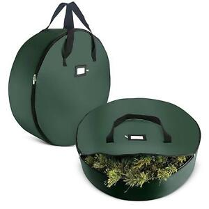 Christmas 420D Wreath Storage Bag - 36 x 36 x 8 - Set Of 2 - Green
