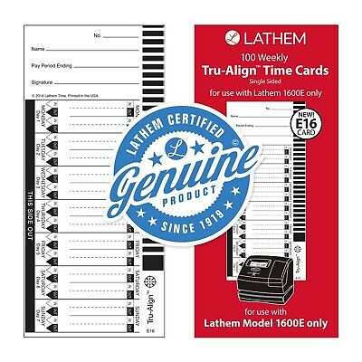 Lathem Weekly Tru-align Time Cards Single Sided For Use With Lathem 1600e T...