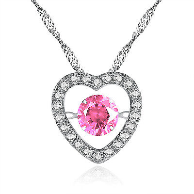 925 Sterling Silver Round CZ Heart Style Dancing Necklace Pink Sapphire Pendant