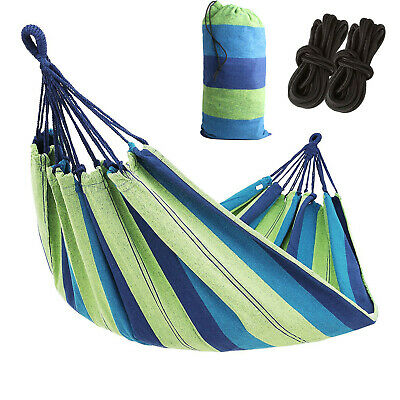 Double Hammock 2 Person Outdoor Canvas Fabric Swing Camping Hanging Bed 450Lbs ()