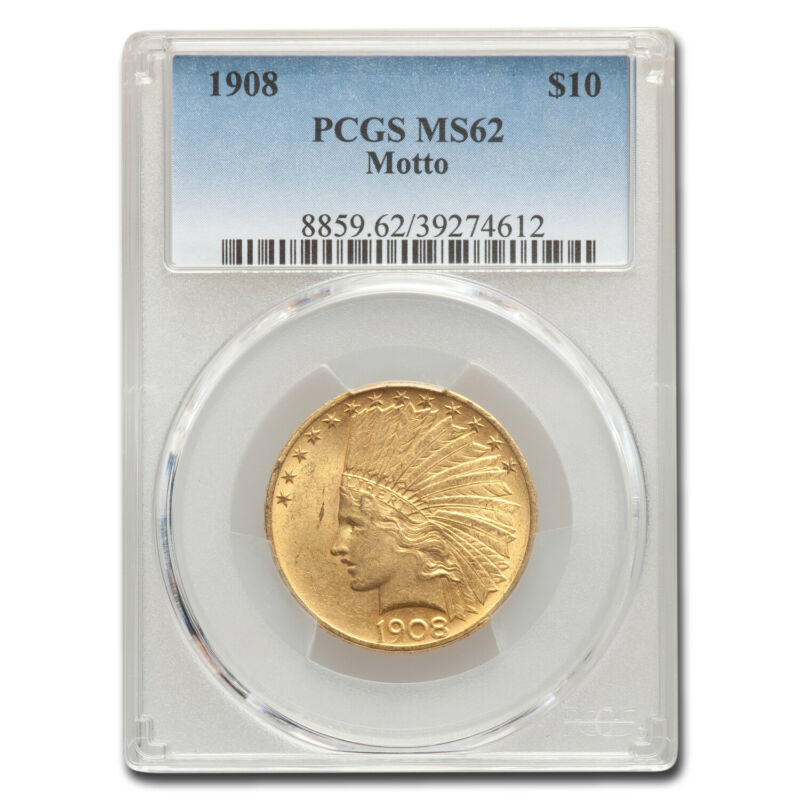 1908 $10 Indian Gold Eagle w/Motto MS-62 PCGS - SKU#162546