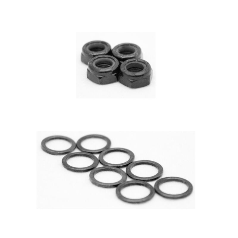 Skateboard Truck Axle Washers (Speed Rings) Nuts for Speed Bearing Performance