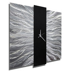 Modern Silver/Black Metal Wall Clock - Contemporary Metal Wall Art by Jon Allen