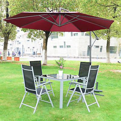 Outsunny 3M Hanging Banana Parasol Sun Shade Umbrella Cantilever  Wine Red