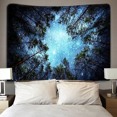 Celestial Galaxy Night Sky Stars Tapestry Forest Nature View Wall Hanging -