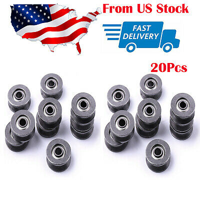 20pc V Groove 12mm Round Steel Wheel Pulley Bearing Roller