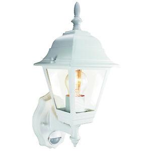 smartwares Außenleuchte Laterne mit Bewegungsmelder Weiß ES94W Lampe IP44 Alu
