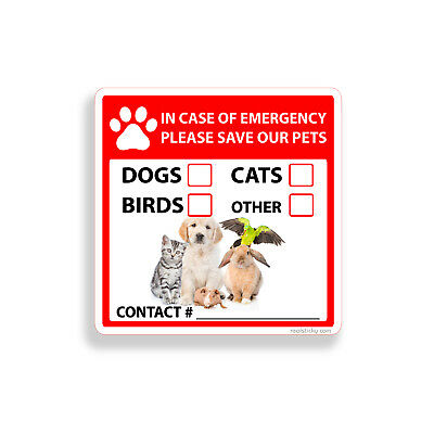 Save Our Pet Sticker Emergency Rescue Dog Cat Bird Home Window Door Wall Decal