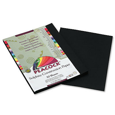 Pacon Peacock Sulphite Construction Paper 76 lbs. 9 x 12 Black 50 Sheets/Pack