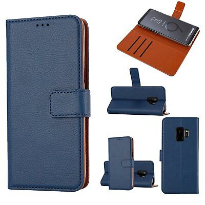 Galaxy S9 Wallet Case Kickstand Drop Protection PU Leather Flip Cover Blue for sale  Shipping to India