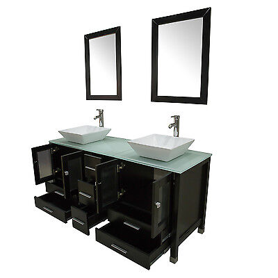 "60"" Black Double Bathroom Vanity Cabinet Solid Wood Ceramic Sink Mirror Faucet"