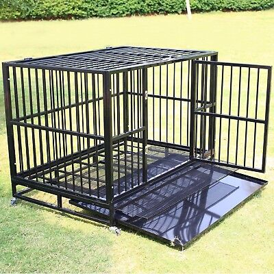 """48"""" Black Heavy Duty Dog Crate Cage Pet Kennel Playpen Exercise w/ Metal Tray US ()"""