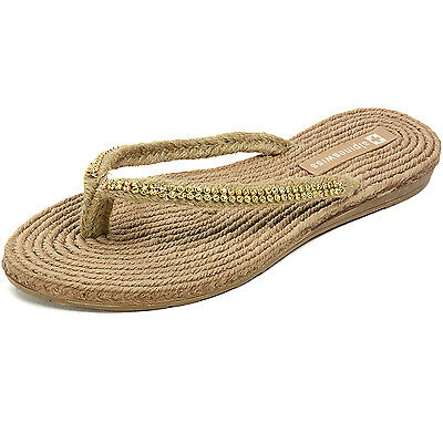 AlpineSwiss Womens Rhinestone Sandals Padded Sole Thongs Comfort Flat Flip Flops
