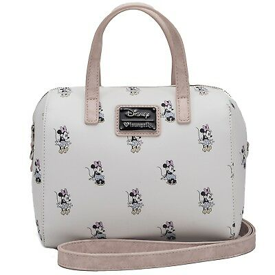 Loungefly Disney Minnie Mouse Print Cream Faux Leather Duffel Bag Purse - Minnie Mouse Bags