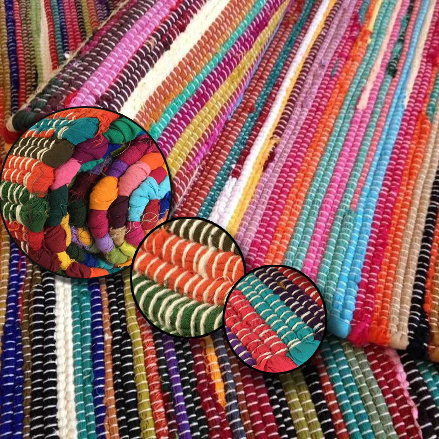 Details About Fair Trade Loom Recycled Rag Rug Chindi Shabby Chic Woven Striped Mat Handmade