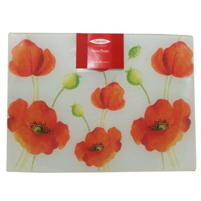 Rayware Alpine Poppy 40 cm x 30 cm Glass Worktop Saver, Multi-Colour