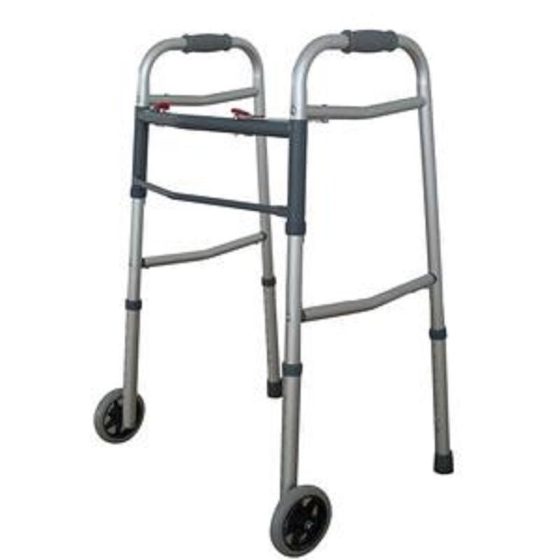 """Dual 2 Button Folding Walker with 5"""" Wheels Heavy Duty Professional UP TO 350lbs"""