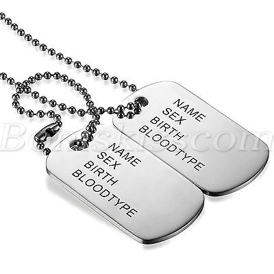 Men Military Army Style 2 Dog Tags Address Pendant Necklace 28