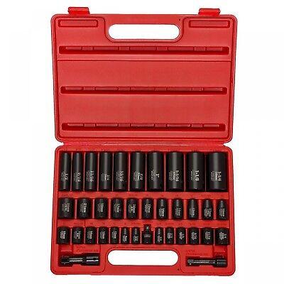 - Neiko 38 Pc piece Laser Impact Deep Socket Set, 1/2