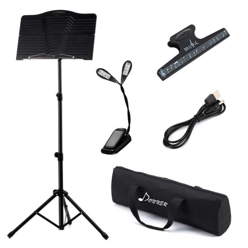 Donner Sheet Music Stand Folding Travel Metal Music Stand With Carrying Bag US