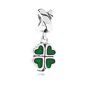 Genuine Pandora Sterling Silver Green Four Leaf Clover Dangle Charm 790572EN25