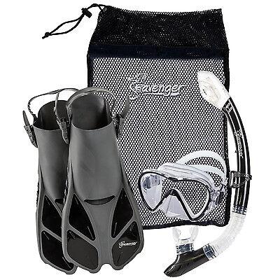 Kids Snorkel Sets -  Seavenger Adults Kids Dry Top Snorkel Mask Fins Bag Travel Set Beach Lake Boat