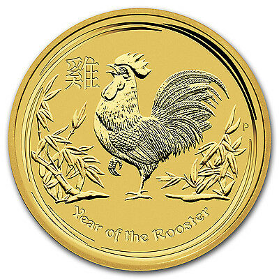 2017 1 oz Gold Lunar Year of the Rooster Perth Mint BU - SKU #102651