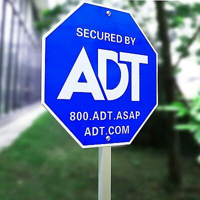 """28"""" ADT Sign, ADT Security Signs 6 Double Sided Stickers Metal Yard Sign Stake"""