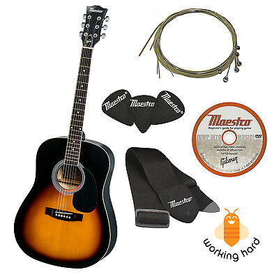 """GIBSON ACOUSTIC GUITAR FULL SIZE 41"""" With Strap Picks Extra String Set DVD"""