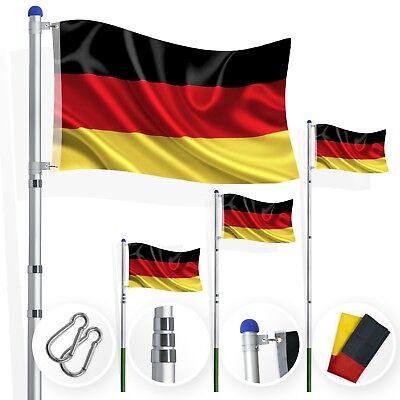 Kesser® Fahnenmast Teleskop 6,35m Flaggenmast Aluminium Fahne inkl Flagge Mast