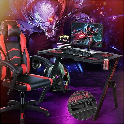 Gaming Desk Computer Table Recliner Set Leather Relax Racing Chair Ergonomic