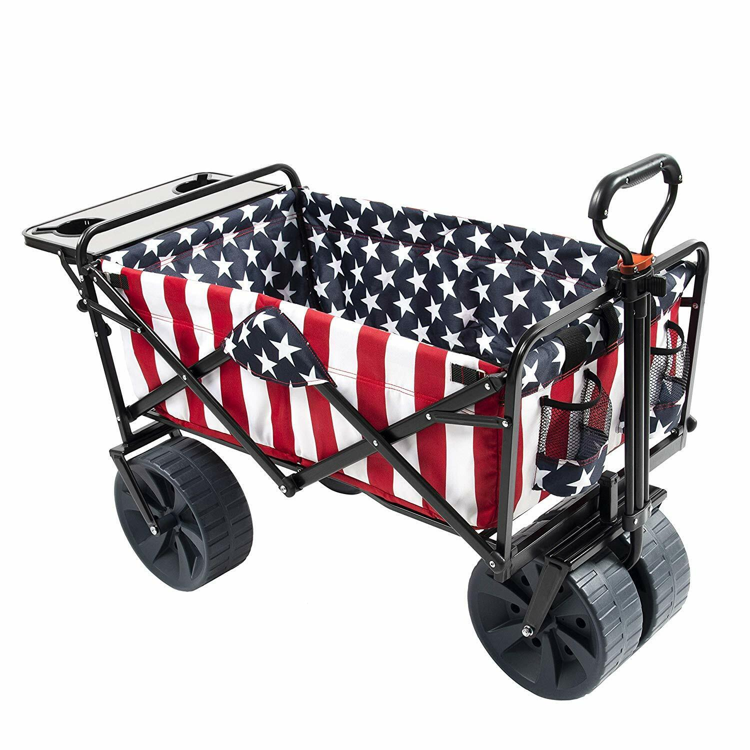 Mac Sports Collapsible Folding Outdoor Beach Wagon w/ Side T