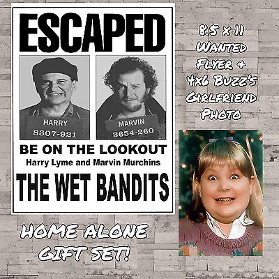 Home Alone The Wet Bandits Wanted Sign Flyer Buzz's Girlfriend Photo Gift Set - Buzz Home Alone