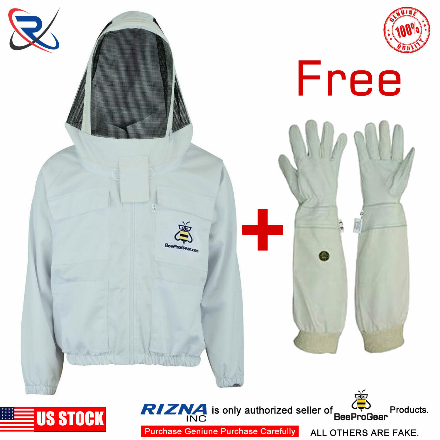 Forest Beekeeping Supply Premium Cotton Jacket with Fencing Veil Hood 2XL Professional Premium Beekeeper Jackets