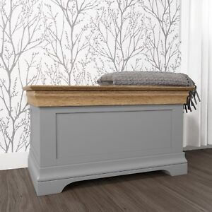 Grey Blanket Box Oak Top Solid Wood Bedroom Storage Toy Chest Cabinet Trunk
