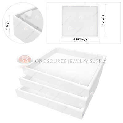 3 Piece Stackable 1 White Plastic Jewelry Display Half-tray Storage Organizers